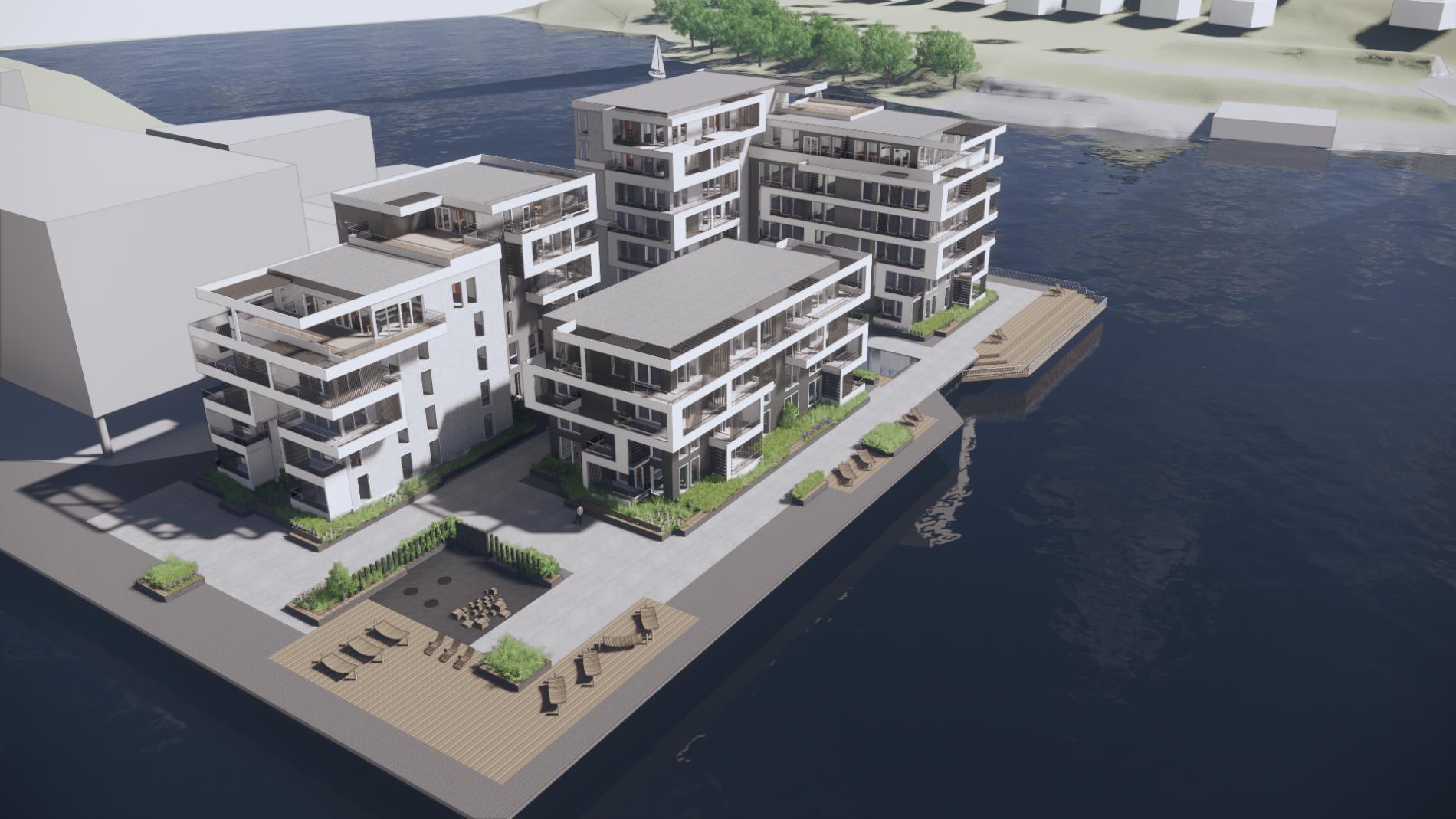 Klosterøya Skien: 70 leiligheter og parkering