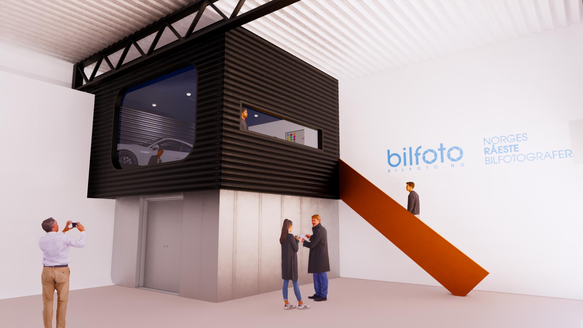 Innebygget kontor for Bilfoto i Stokke