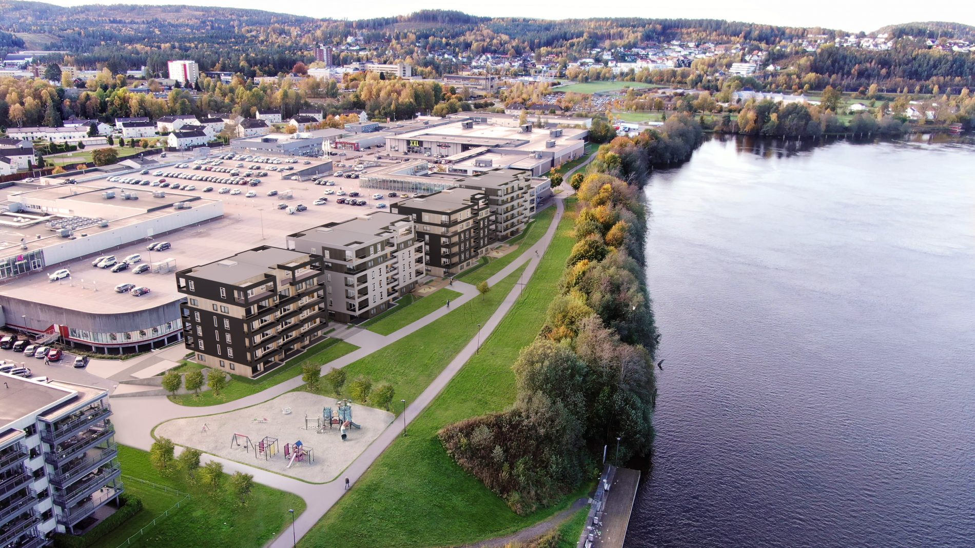 Herkules Park i Skien: 87 leiligheter og parkering